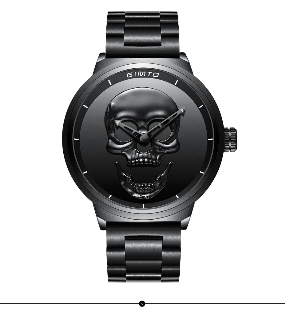 2018 Cool Punk 3D Skull Men Watch Brand GIMTO Luxury Steel Gold Black Vintage Quartz Male Watches sport clock Relogio Masculino 18
