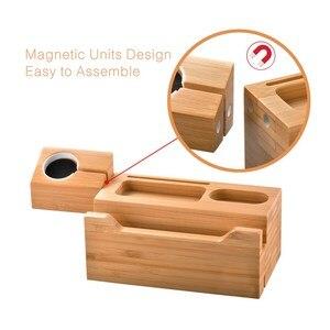 Image 3 - SZYSGSD 2 en 1 Station de recharge en bois pour iPhone 6 6 S 8 support de téléphone portable bureau pour Apple Watch charge support Bluetooth écouteurs