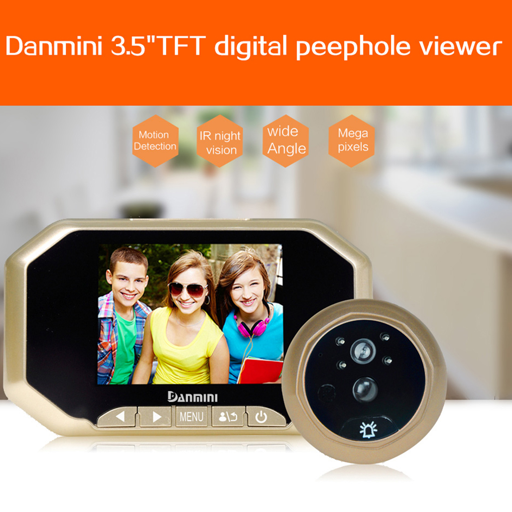 Daminin Video Intercom Doorbell 3.5 Inch 2.0MP TFT Digital Peephole Viewer With PIR Motion Detection Night Vision daminin video intercom 3 5 inch 2 0mp tft digital viewer with pir motion detection night vision