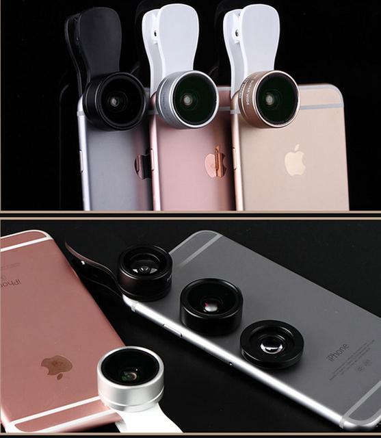 Clipe de fotos do telefone móvel lente olho de peixe + lente macro + lente grande angular para sony xperia e5, oneplus 3 oneplus três, alcatel pixi 4 (5)