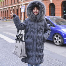 2019 new big fur winter coat thickening pike womens stitching slim long cotton ladies down jacket