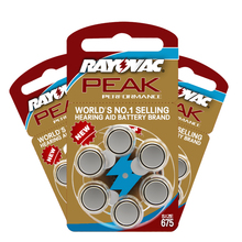 NEW 60 PCS Zinc Air 1.45V Rayovac Peak Hearing Aid Batteries 675A A675 675 PR44 Cell Button Battery