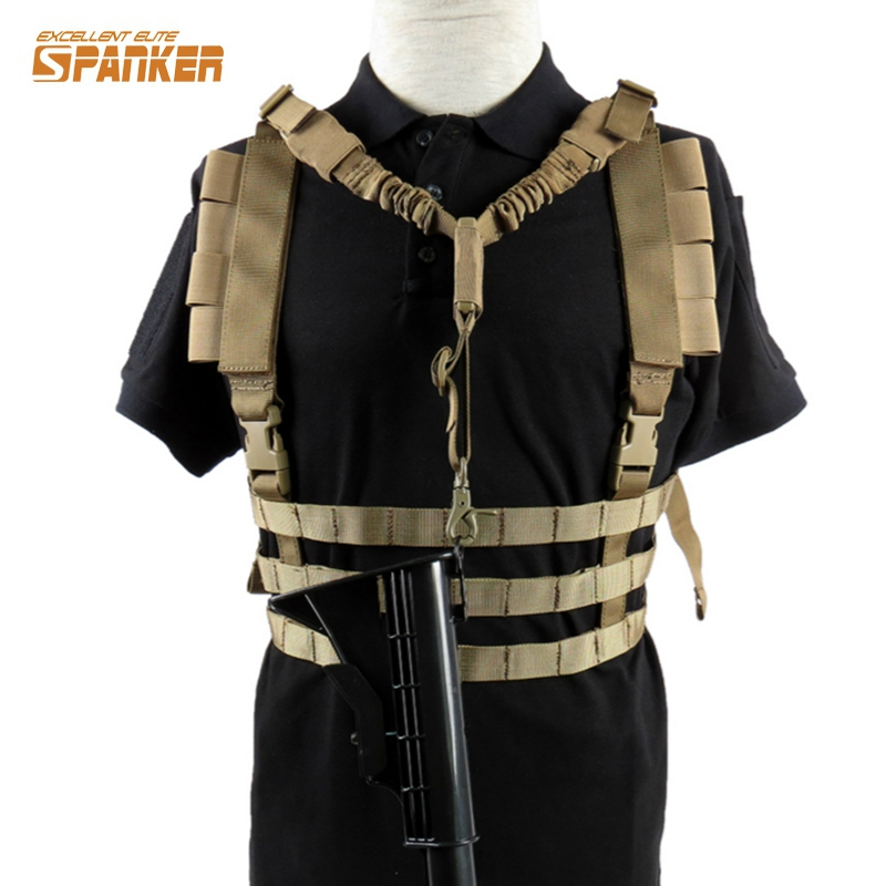 Lightweight Molle Tactical Chest Rig Vest with Removalbe Adjustable Gun Strap Sling Military Ammo Hunting Airsoft Paintball Gear seac sub sting spear gun with sling aluminum finish