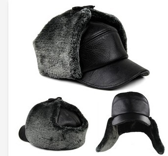 Men s winter hat snapback pilot hat with earflaps mens faux fur pompom  outdoor tab warm fur hat cap men s winter hats ear flaps 619e696272d