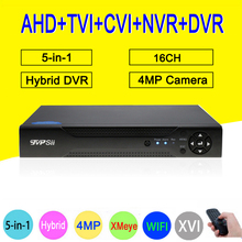XMeye Hisilicon Chip H264 + 16CH 16 Channe 4MP Full HD 5 in 1 Hybrid Koaxial WIFI ONVIF TVi CVI IP NVR AHD CCTV DVR Freies Verschiffen