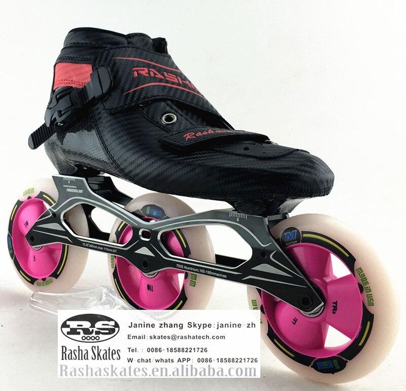 Prix pour RASHA inline vitesse patins noir Couleur inline chaussures de patinage de vitesse de carbone patins à roues alignées 3*110 roues hommes/femmes patins inline