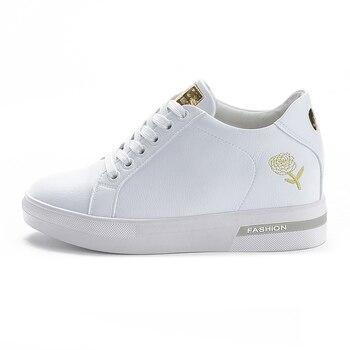 Primavera De 2019 De Cuero, Elegante Zapatillas De Deporte Para Mujer Blanco Zapatos Casuales Zapatos De Encaje De Plata De Oro Zapatillas De Cuña Plataforma Chaussure Femme