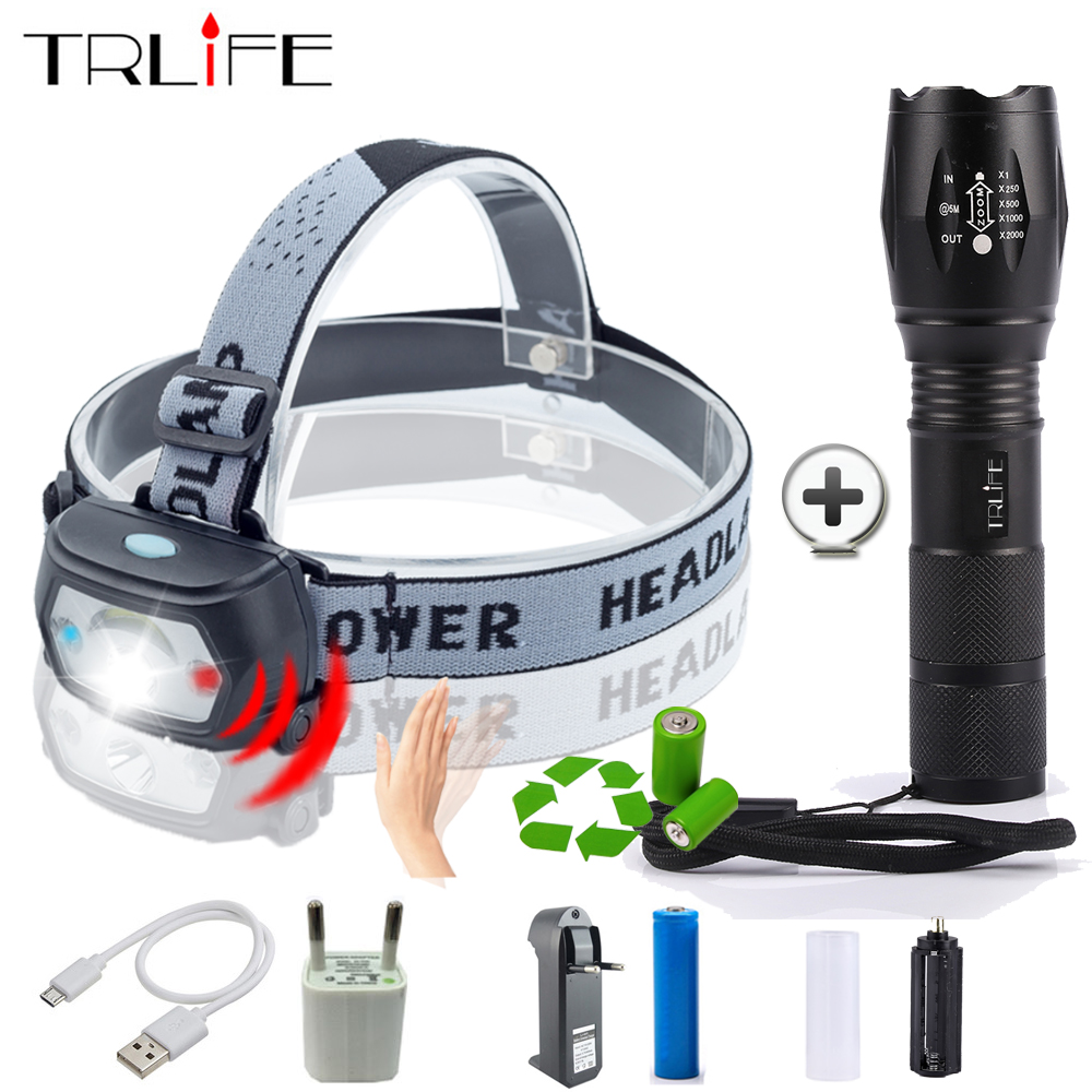 Portable Sensor LED Headlamp Body Motion IR Sensor Mini USB Headlight Head+Rechargeable LED Flashlight Zoomable Torch Use 18650 цена