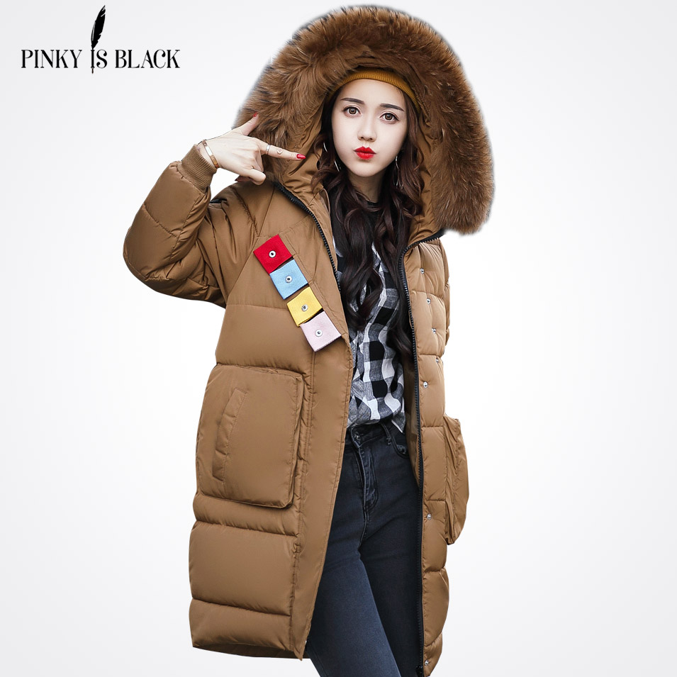 Pinky Is Black Winter Jacket Women Coat Long Parkas Female Warm Overcoat Big Fur Collar High Quality Thicken jacket New Arrival women winter coat leisure big yards hooded fur collar jacket thick warm cotton parkas new style female students overcoat ok238