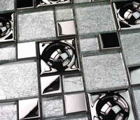 White Silver Arch Electroplate Mosaic Tiles HMGM1096 Backsplash Kitchen Wall Tile Sticker Bathroom Floor Tile Free