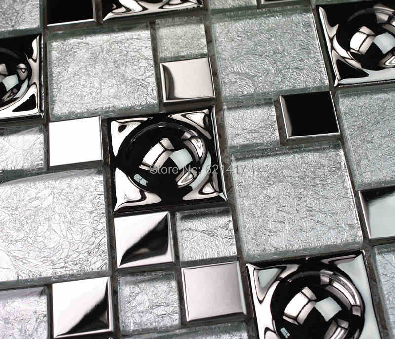 White Silver Arch Electroplate Mosaic Tiles HMGM1096 Backsplash Kitchen Wall  Tile Sticker Bathroom Floor Tile Free Part 45