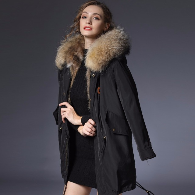 Real Raccoon Fur Long Warm Coat