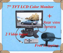 Free shipping  7″ Car Rear view Monitor TFT Color LCD Monitor DVD VCR with 2 Video Input+rear view camera
