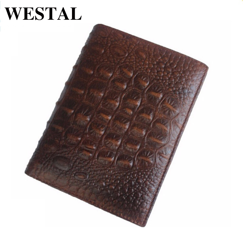 WESTAL Luxury Men Wallets Genuine Leather Men's Wallets Vintage Designer  Alligator Pattern Men Wallet Money Clip Carteira 3122 men genuine leather wallet 2016 dollar price luxury famous designer high quality money clip men wallet