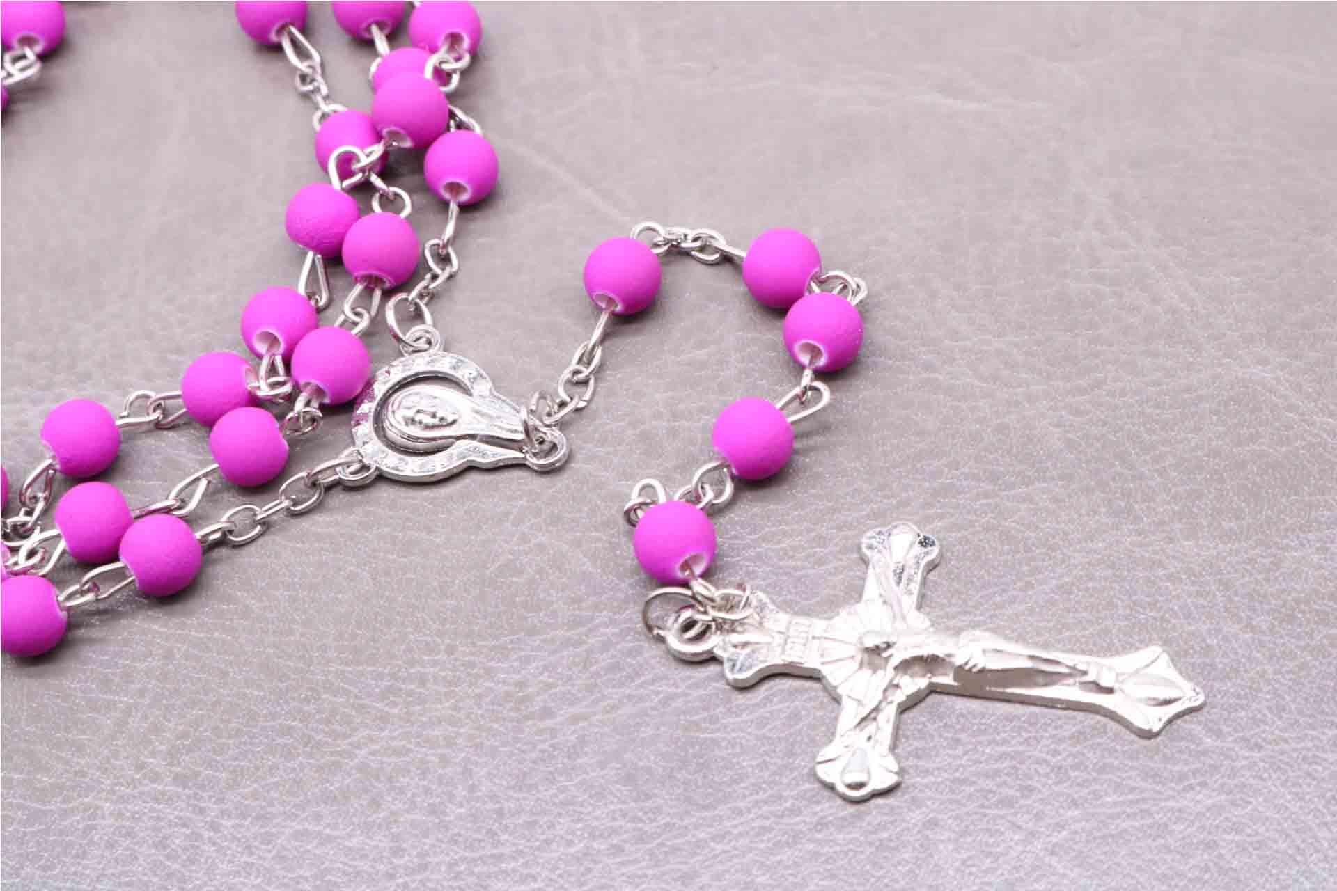 6MM Prayer Crystal Purple Rosary Cross Necklace, Jesus Cross Pendant Necklace Bead Rose Necklace for Religion