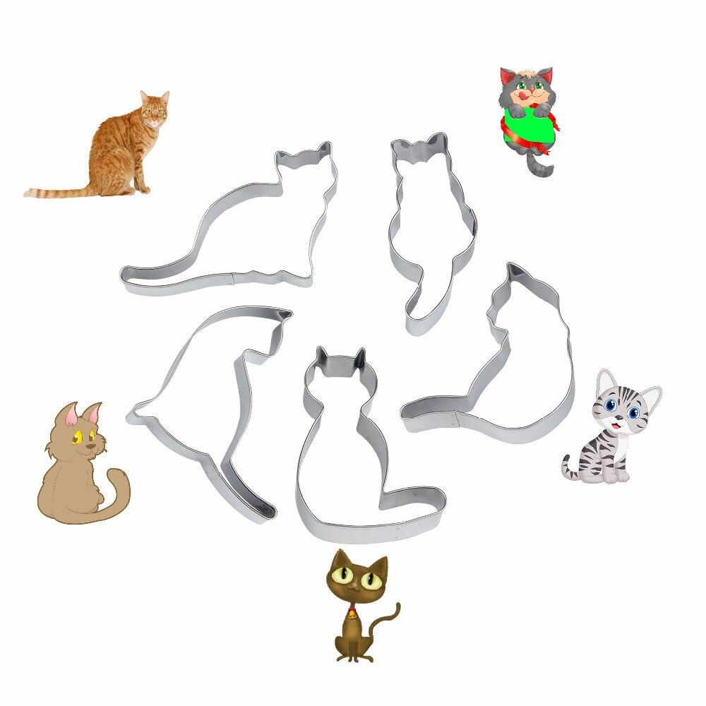 5 teile/satz Edelstahl Ausstecher Nette Katze Form Fondant Kekse Tools Zuckerfertigkeit Bäckerei Backformen