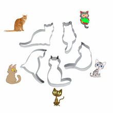 5pcs/set Stainless Steel Cookie Cutter Cute Cat Shape Fondant Biscuits Tools Sugar Craft Bakery Bakeware