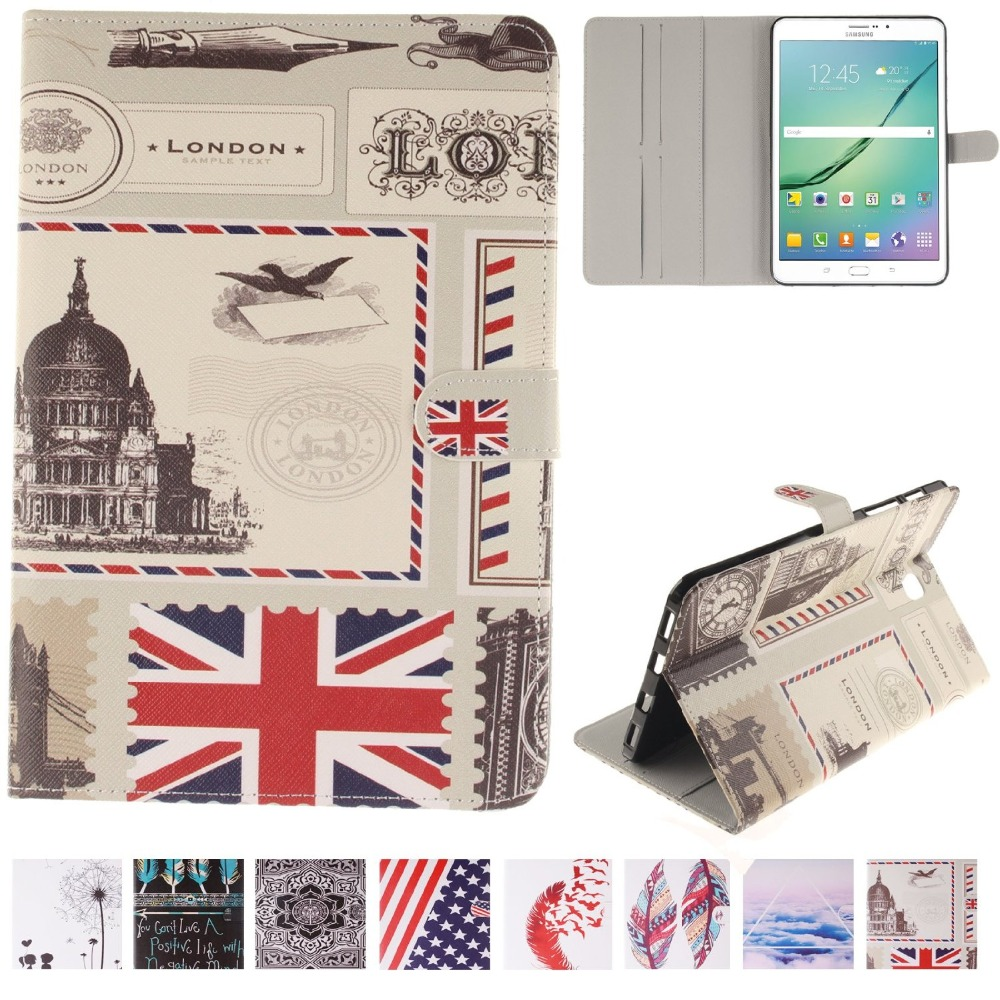 For Galaxy Tab S2 8.0 Case Fashion Design Pattern Stand Cover for Samsung Galaxy Tab S2 8.0 SM-T710 T715 Tablet  with Card Slot colorful magnetic pu leather case cover for samsung galaxy tab s2 8 0 sm t710 t715 tablet stand with card holder y4d33d