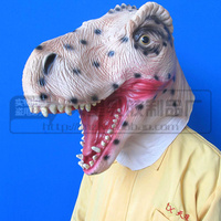 Free Shipping Eco friendly Adult size realistic latex Dinosaur Mask Triceratops Animal Full Head Deluxe Party Mask Free size