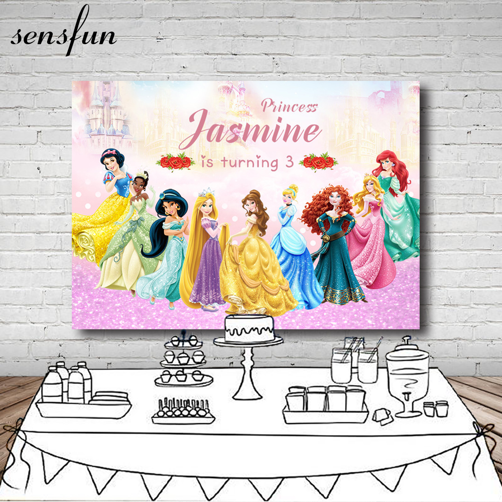 Fairy Tale Princess Backdrop Cartoon Children Girls Birthday Party Backgrounds For Photo Studio Custom Name 7x5FT Vinyl цена 2017