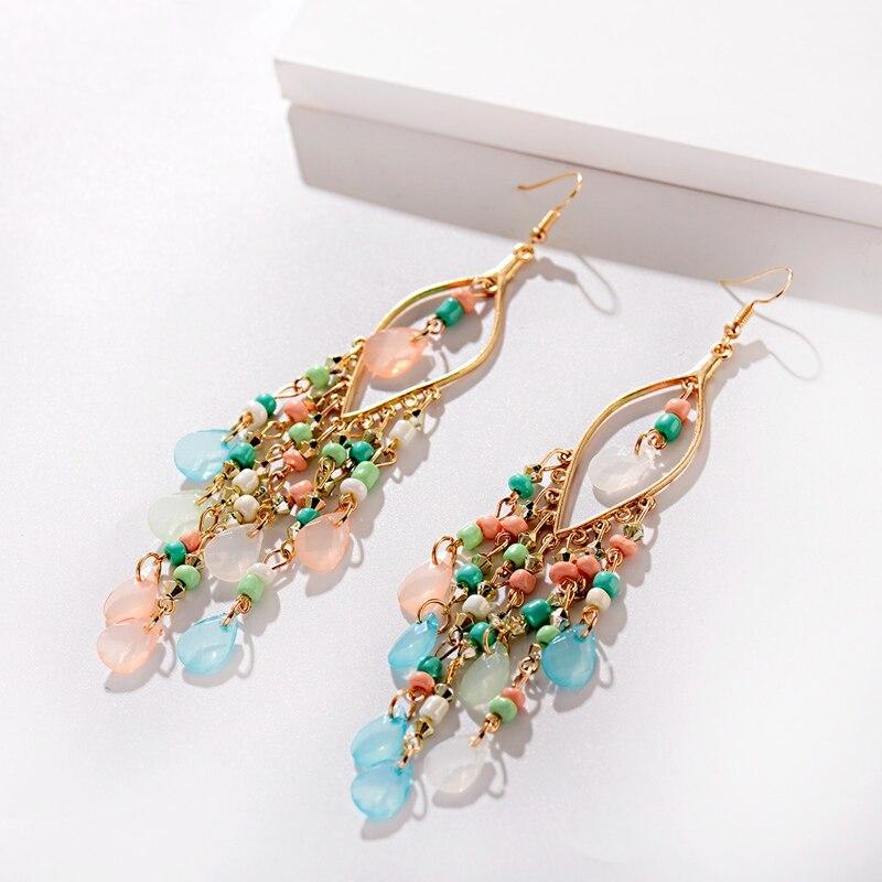 Classic Trendy Blue Crystal Long Tassel Dangle Earrings For Women 2019 Fashion Indian Earrings Beads Wedding Earrings Hangers