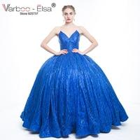 Luxuary 실제 사진 섹시한 V 디자인 긴 로얄 블루 이브닝 드레스 2018 끈 스팽