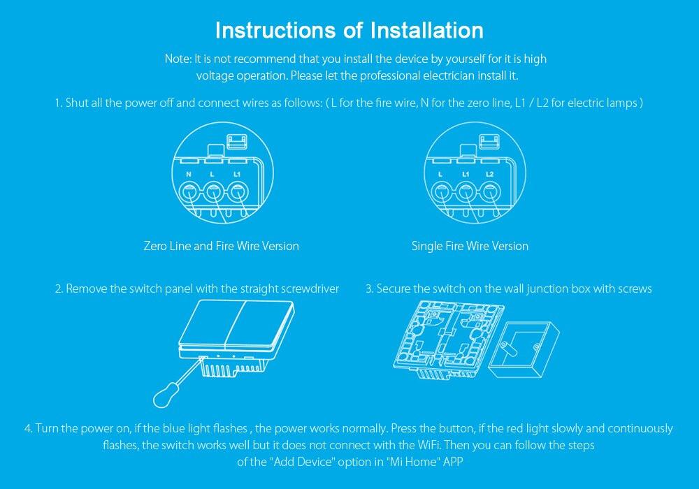 Xiaomi Aqara Smart Light Control Wall Switch ZigBee Wireless ...