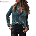 XINGUANGYA New 2017 Spring Women Velvet Blouse Long Sleeve Turtleneck Shirts female sexy streetwear tops blusas Outwear Shirt
