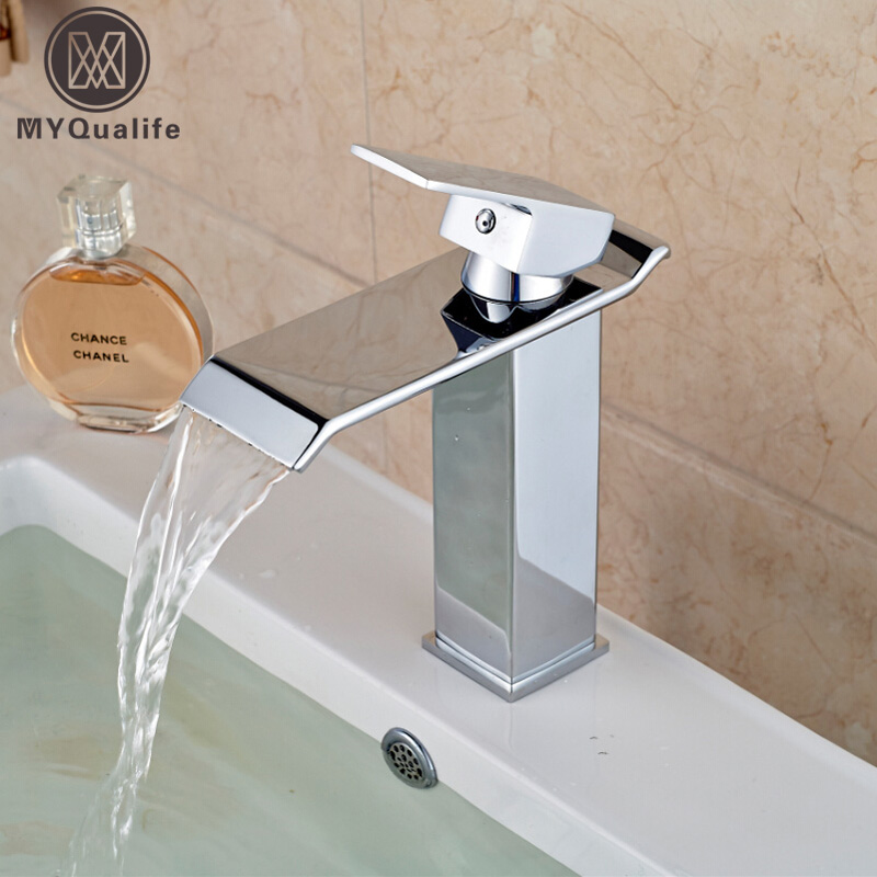 Free Shipping Wholesale And Retail Chrome Finish Waterfall Bathroom Faucet Bathroom Basin Mixer Tap with Hot and Cold Water us free shipping wholesale and retail chrome finish bathrom sink basin faucet mixer tap dusl handle three holes wall mounted