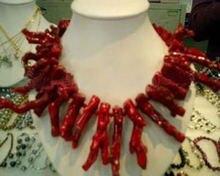 Ожерелье из красных натуральных кораллов с шипами 17 дюймов