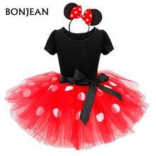 2017 Summer New minnie mouse kids dress princess costume party children clothing Cosplay Girls Minnie Dress+Headband Baby
