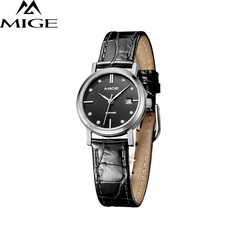 2017 Top Brand New Sale Mige Female Clock Black White Saphire Dial Waterproof Ladies Watches Quartz Movement Women Wristwatches mige 20017 new hot sale top brand lover watch simple white dial gold case man watches waterproof quartz mans wristwatches
