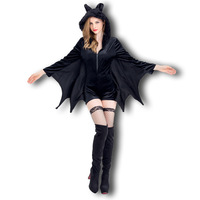 2017 Performance Adult Animal Halloween Masquerade Clothing Black Bat Demon Vampire Girl Superman Costume Female Party