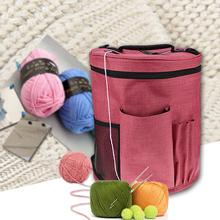 Large Knitting Canvas Cylinder Woolen Yarn Storage Bag Kit Tote Organizer With Divider For Crocheting Portable Holder