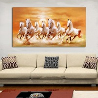 JQHYART Seven Running White Horse Animals Home Decor Paintings On Canvas Posters and Prints Modern Wall Picture For Living Room