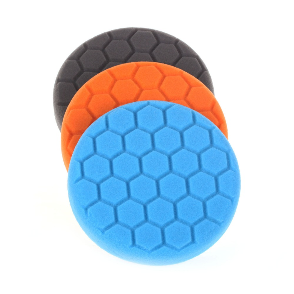 SPTA 3Pcs 3/4/5/6/7 Inch Buffing Sponge Polishing Pad Kit
