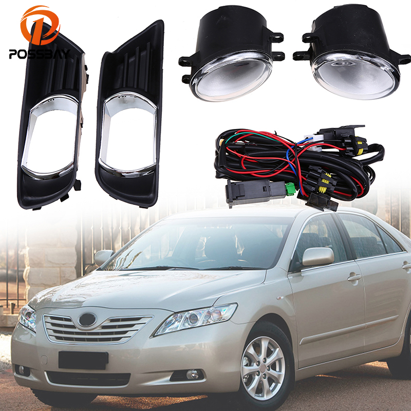 POSSBAY Black Front Lower Left Right Bumper Fog Light Grille Cover + Fog Lamps Kit for Toyota Camry XV40 2007-2009 Pre-facelift ownsun innovative super cob fog light angel eye bumper cover for skoda fabia scout