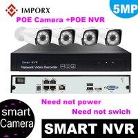 IMPORX 4PCS H.265 5MP CCTV Security Camera System 4CH POE NVR With IP Camera CCTV Kit Waterproof IP66 Video Surveillance System