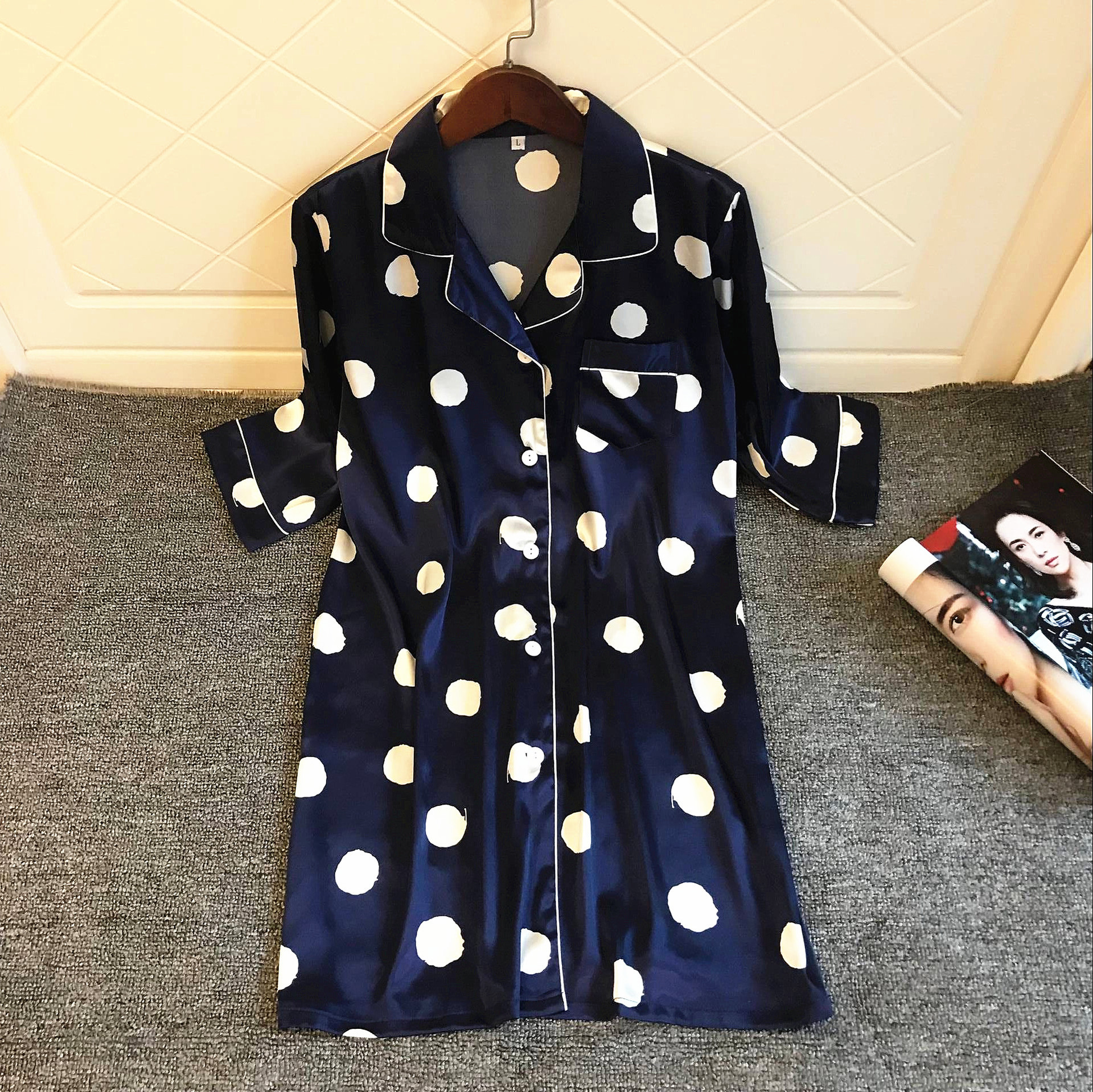 Spring Summer Dot Sexy Sleepwear Turn-down Collar Nightwear   Nightgown   Female   Sleepshirt   Casual Home Dress Nightdress Size L Xl
