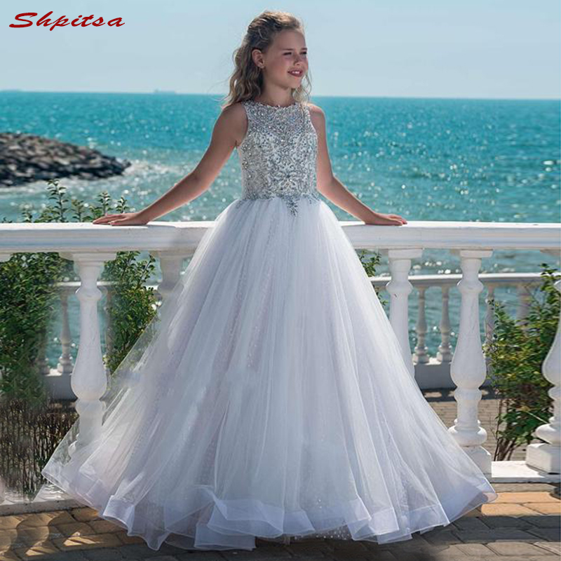 White Flower Girl Dresses for Weddings First Communion Pageant Dresses for Wedding Girls Kid Mesh Gowns Robes