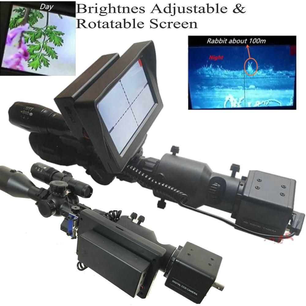 Day/&Night Riflescope Add On DIY Night Vision Scope W//Foldable Screen Flashlight