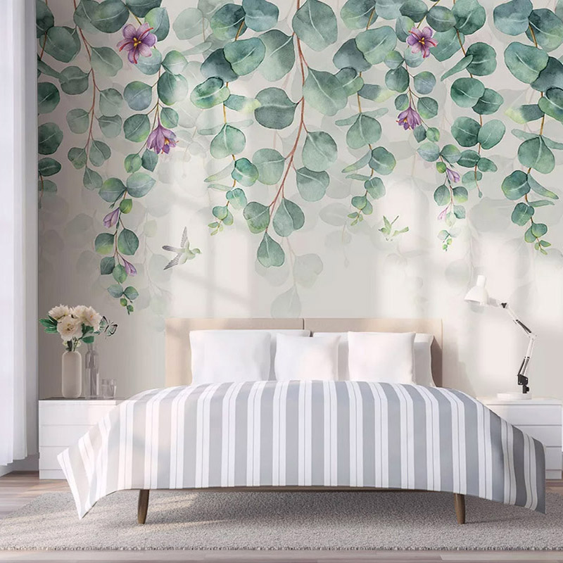 Modern Wallpaper 3D Tropical Leaves Flowers Butterfly Birds Photo Wall Mural Living Room Bedroom Romantic Home Decor 3D Stickers