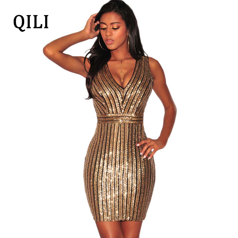 QILI Rear V Sleeveless Women Sequin Dress neck Striped Sequined Elegant Dresses Summer Womens Fashion Party Shining