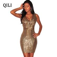 QILI Rear V Sleeveless Women Sequin Dress V neck Striped Sequined Elegant Dresses Summer Womens Fashion Party Shining Dress цены онлайн