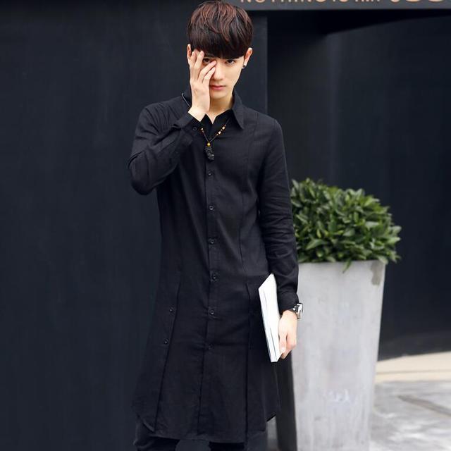 2017 de La Moda de Harajuku Extendida Mens Camisas de Lino Ocasionales de Los Hombres Camisa de Manga Larga de Diseño Único Slim Fit Camisa de Vestir de Los Hombres de la Marca