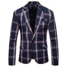 Casual Plaid Mens Suits Tuxedos Blazer Jacket Men Slim fit Wedding for Gray Black Navy