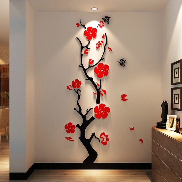 Free Shipping Plum 3d Stereo Acrylic Crystal Cozy Bedroom Wall Stickers  Living Room TVbackdrop Decorative Entrance