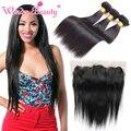 Wonder beauty peruano virgem cabelo macio reta 3 pcs com a orelha a Orelha 13x4 Rendas Frontal Virgem Ofertas Bundle Cabelo Aliexpress cabelo