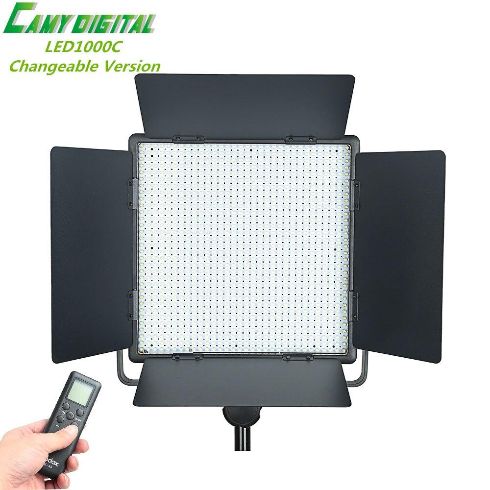 Godox professionale led1000c 3300 k ~ 5600 k versione variabile led video light + remote cord + ac power adapter + filtro per la macchina fotografica video