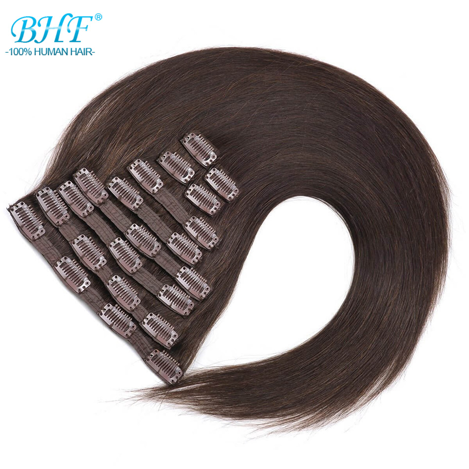 BHF Full Head Clip In Human Hair Extensions Machine Made Remy 20 160G 200G 100 Brazilian